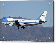 Boeing Vc-25a 82-8000 Air Force One Phoenix-mesa Gateway Airport January 25 2012 Acrylic Print by Brian Lockett