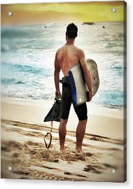 Boggie Boarder At Waimea Bay Acrylic Print