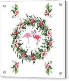 Acrylic Print featuring the digital art Boho Floral Tropical Wreath Flamingo by Georgeta Blanaru