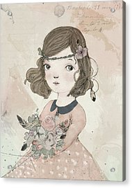 Boho Little Girl Acrylic Print by Paola Zakimi