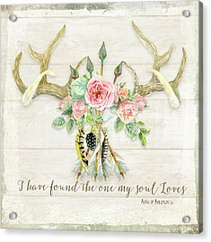 Boho Love - Deer Antlers Floral Inspirational Acrylic Print by Audrey Jeanne Roberts