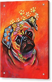 Acrylic Print featuring the mixed media Pug by Patricia Lintner