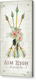 Acrylic Print featuring the painting Boho Western Arrows N Feathers W Wood Macrame Feathers And Roses Aim High by Audrey Jeanne Roberts