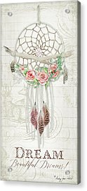 Acrylic Print featuring the painting Boho Western Dream Catcher W Wood Macrame Feathers And Roses Dream Beautiful Dreams by Audrey Jeanne Roberts