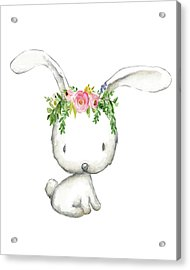 Boho Woodland Bunny Floral Watercolor Acrylic Print