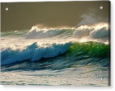 Boiler Bay Waves Rolling Acrylic Print by Mike  Dawson