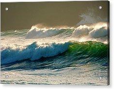 Boiler Bay Waves Rolling Acrylic Print by Mike  Dawson