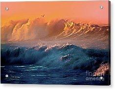 Boisterous Seas And Gull Acrylic Print