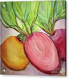 Acrylic Print featuring the painting Bold Beets by Kim Nelson