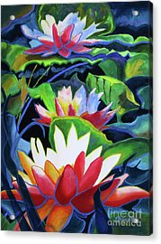 Acrylic Print featuring the painting Bold Lilypads by Kathy Braud