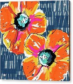 Bold Orange Poppies- Art By Linda Woods Acrylic Print by Linda Woods
