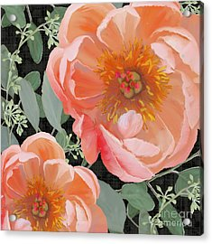 Acrylic Print featuring the painting Bold Peony Seeded Eucalyptus Leaves by Audrey Jeanne Roberts