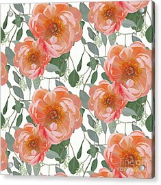Bold Peony Seeded Eucalyptus Leaves Repeat Pattern Acrylic Print by Audrey Jeanne Roberts