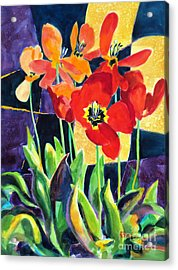 Bold Quilted Tulips Acrylic Print by Kathy Braud