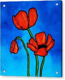 Bold Red Poppies - Colorful Flowers Art Acrylic Print by Sharon Cummings