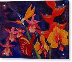 Acrylic Print featuring the painting Bold Tropical Flowers by Kerri Ligatich