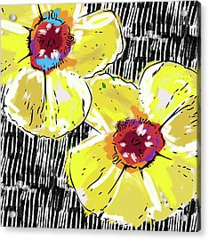 Acrylic Print featuring the mixed media Bold Yellow Poppies- Art By Linda Woods by Linda Woods