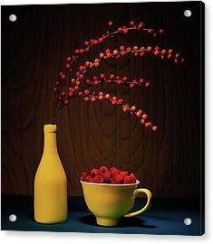 Bold Yellow With Raspberries Acrylic Print
