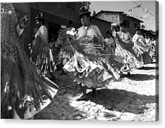 Bolivian Dance Black And White Acrylic Print