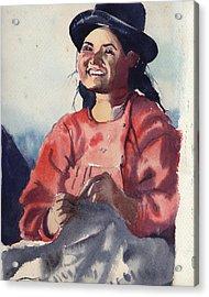 Bolivian Seamstress Acrylic Print