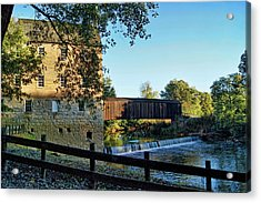 Acrylic Print featuring the photograph Bollinger Mill And Bridge by Cricket Hackmann