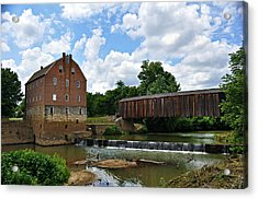 Bollinger Mill And Covered Bridge Acrylic Print by Marty Koch