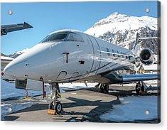 Bombardier Challenger 350 Se-rma Snowed Acrylic Print by Roberto Chiartano