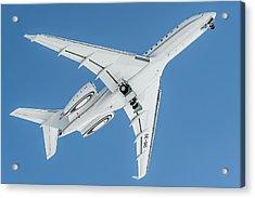 Bombardier Global 5000 Oe-inc Take Off Bottom Acrylic Print by Roberto Chiartano
