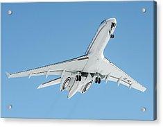 Bombardier Global 5000 Oe-inc Take Off From Engadin Acrylic Print by Roberto Chiartano