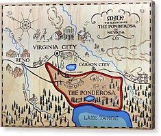 Bonanza Series Ponderosa Map  1959 Acrylic Print