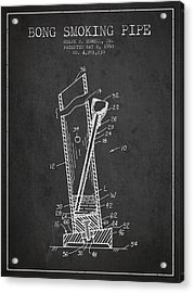 Bong Smoking Pipe Patent 1980 - Charcoal Acrylic Print