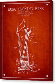 Bong Smoking Pipe Patent 1980 - Red Acrylic Print by Aged Pixel