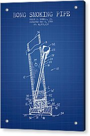Bong Smoking Pipe Patent1980 - Blueprint Acrylic Print by Aged Pixel