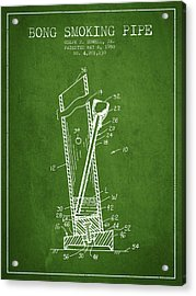 Bong Smoking Pipe Patent1980 - Green Acrylic Print by Aged Pixel