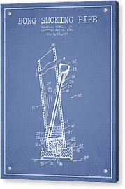Bong Smoking Pipe Patent1980 - Light Blue Acrylic Print by Aged Pixel