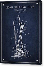 Bong Smoking Pipe Patent1980 - Navy Blue Acrylic Print by Aged Pixel