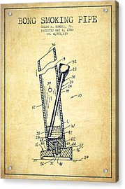 Bong Smoking Pipe Patent1980 - Vintage Acrylic Print by Aged Pixel