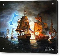Bonhomme Richard Engaging The Serapis In Battle Acrylic Print by Paul Walsh