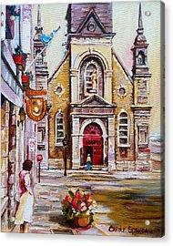 Bonsecours Church Acrylic Print by Carole Spandau