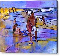 Boogieboarding At Sandy's Acrylic Print