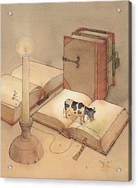 Bookish Cow Acrylic Print by Kestutis Kasparavicius
