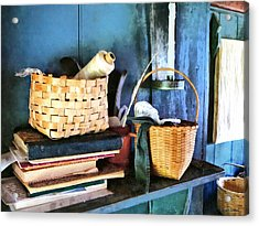 Books And Baskets Acrylic Print by Susan Savad