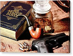 Acrylic Print featuring the photograph Books And Bullets by Barry Jones
