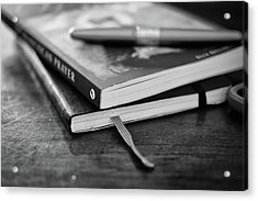 Acrylic Print featuring the photograph Books, Journal And Pen by Monte Stevens