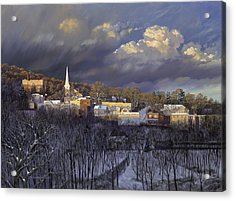 Boonton In Winter Acrylic Print by David Henderson