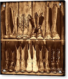 Boot Rack Acrylic Print by American West Legend By Olivier Le Queinec