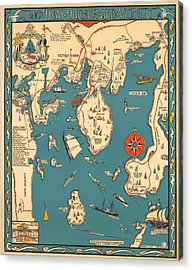Boothbay Harbor And Vicinity - Vintage Illustrated Map - Pictorial - Cartography Acrylic Print