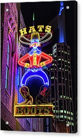 Boots And Hat Neon Sign Acrylic Print