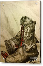 Boots And Shells Acrylic Print by Angie Sellars