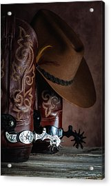 Boots And Spurs Acrylic Print by Tom Mc Nemar